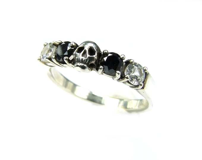 Skull Wedding Ring, Black Diamond Sterling Engagement Ring, Goth Psychobilly Wedding Band