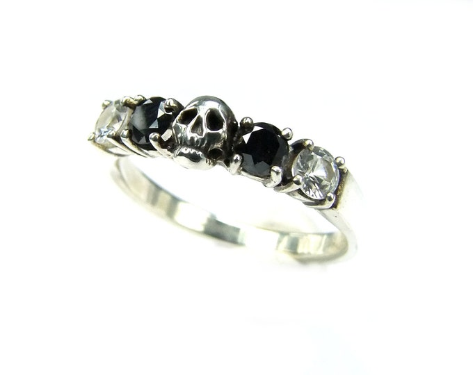 RESERVED Payment Plan for Gilles, Helice in Size 52, Black Diamond and white Sapphire, Sterling Silver, Total price 359 Euros