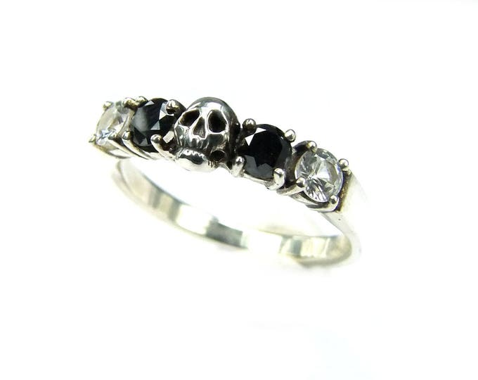 RESERVED for Delena, 4 stone sterling skull band with black moissanite and rock crystal, total price 220 Euros