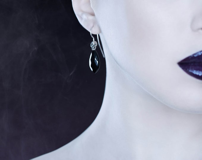 Skull Earrings in Sterling Silver and Rock Crystal, Gothic Bridal Dangles with clear stone