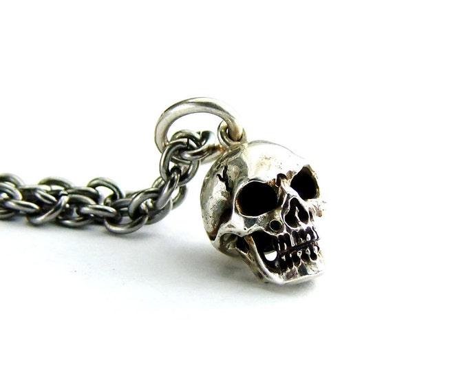 Skull Pendant, Gift For Him, Solid Sterling Skull, Long Steel Chain, Necklace, Memento Mori Pendant, Skull Chain