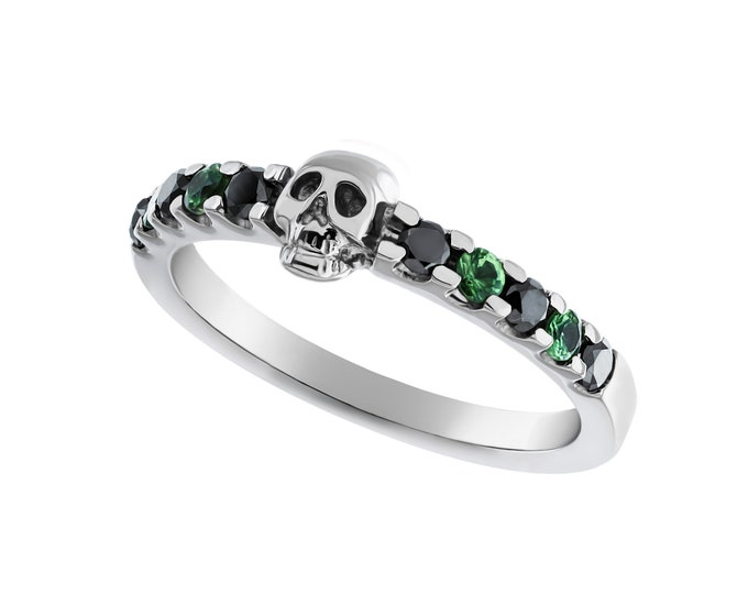 Dainty Skull Ring, White Gold, Size 6, Natural Black Diamonds, Green Tsavolithe, Uwarowite, Psychobilly, Anniversary, Gift For Her, Bridal
