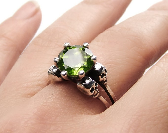 VARLA Peridot Skull Ring, Sterling Silver, Unique Goth Engagement Ring, Anniversary, Gift For Her, Bridal