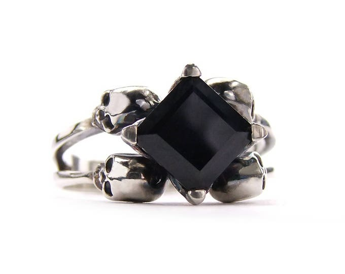 ZORYA Black Skull Engagement Ring, Skull Wedding Band, Square Black Spinel. Memento Mori. Goth Engagement