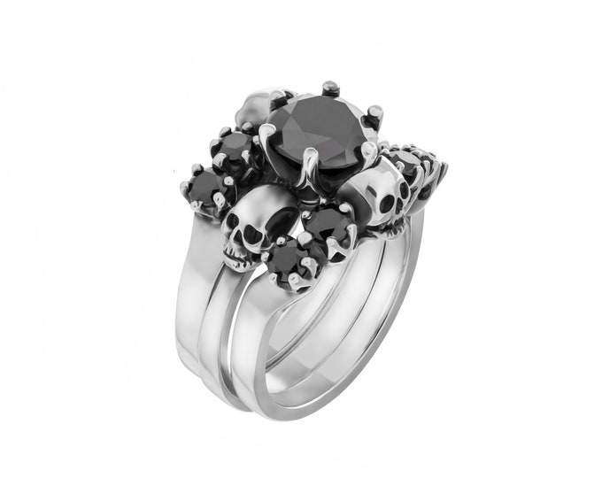 RESERVED for Sarah PAYMENT PLAN for a wedding set of 3 skullrings made in sterling silver with all black moissanite, total price 659 Euros
