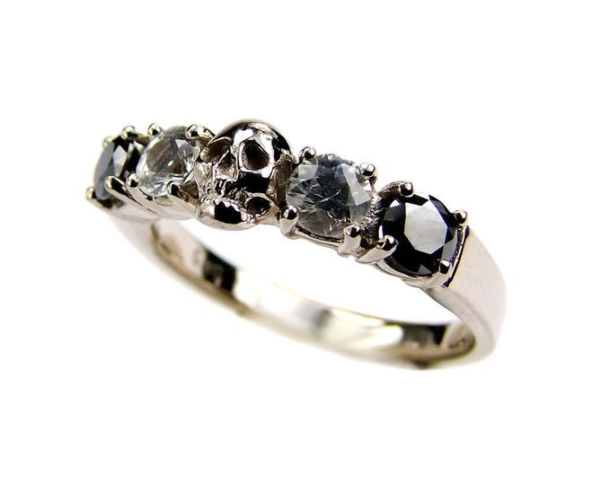 Solid 14K White Gold Skull Wedding Band, Natural Black Diamond, White Topaz