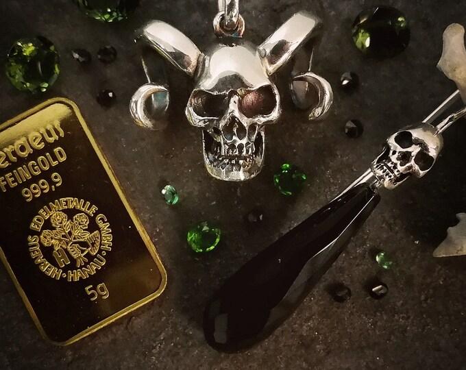 RESERVED for Biblexbasherr Horned Skull Pendant in sterling silver