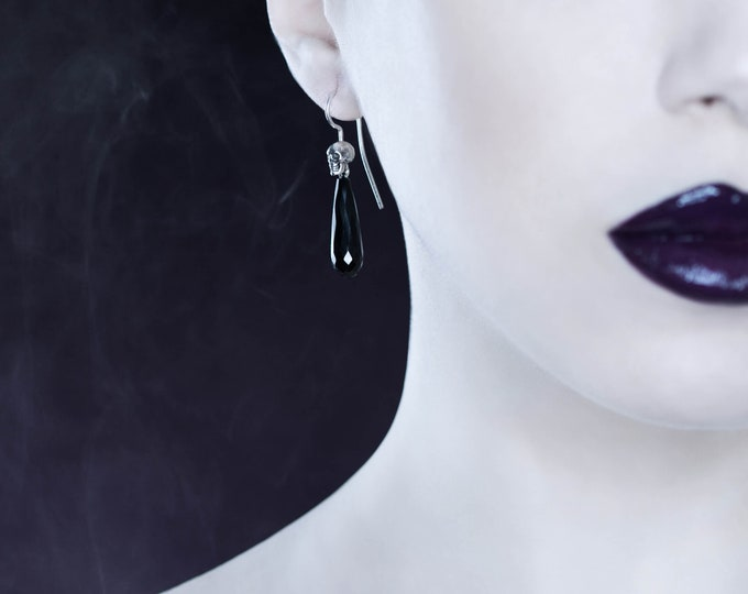 Skull Dangles, Long Goth Drop Earrings Sterling with Skull and Onyx Victorian Mourning Earrings