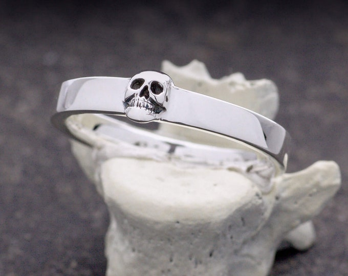 Grooms Skull Ring, Size 9, UK S, Mens Wedding Ring, Goth Psychobilly, Wedding Set, Anniversary, Gift For Him, Husband, Valentines Day