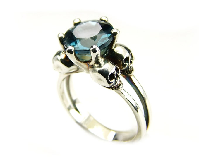 VARLA - Silver Skull Ring, Blue Topaz Goth Engagement Ring, Womens Ring, Psychobilly