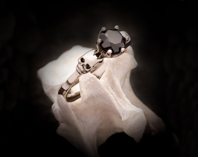 Skull Engagement Ring, Memento Mori Adornment for your Goth Wedding made of 14K White Gold- choose your stone