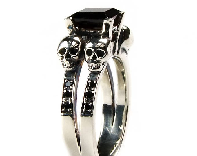 Double Skull Ring with Square Natural Black Spinel Gemstone in Sterling with Diamond Bands for Wedding or Engagement - All Sizes