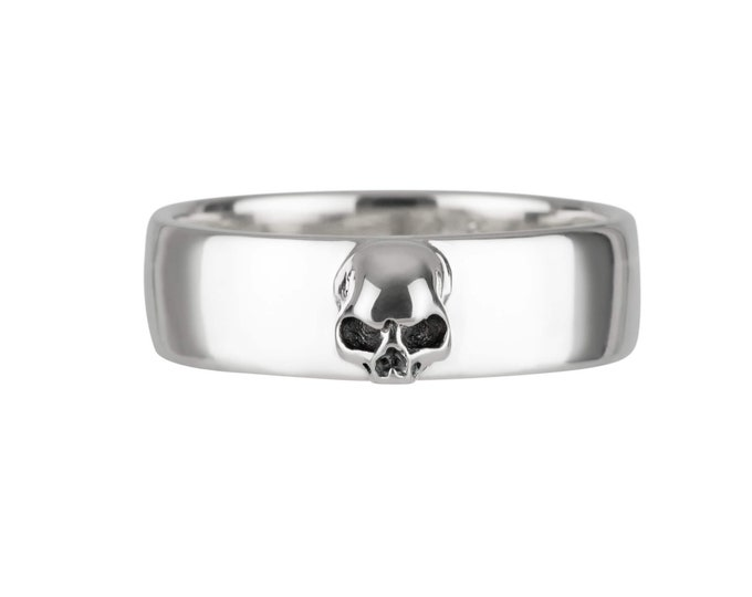 AMUNET - Womens Goth Ring, Size 6.5, Plain Skull Band for Her, Simple Wedding Band, Lady, Wedding Set, Anniversary, Gift For Him and Her