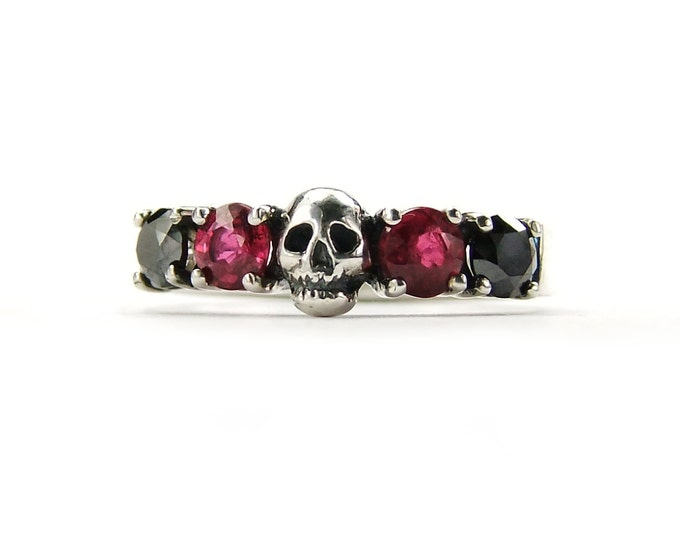 HELICE - Skull Wedding Ring with Natural Black Diamond and Real Red Ruby, Sterling Goth Psychobilly Wedding Band