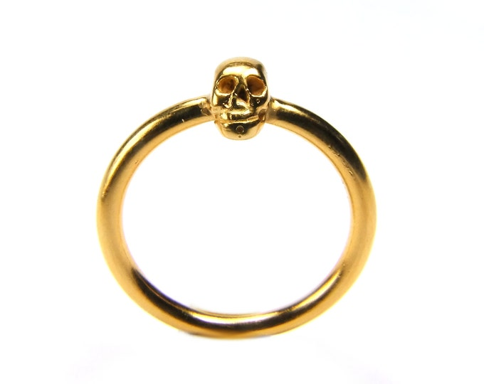 Golden Skull Ring, Valentines Gift, Small Gold Plated Ladys Ring, Mini Skull, Memento Mori, Goth Ring Sizes 6.5 ; 6.75 ; 7.75