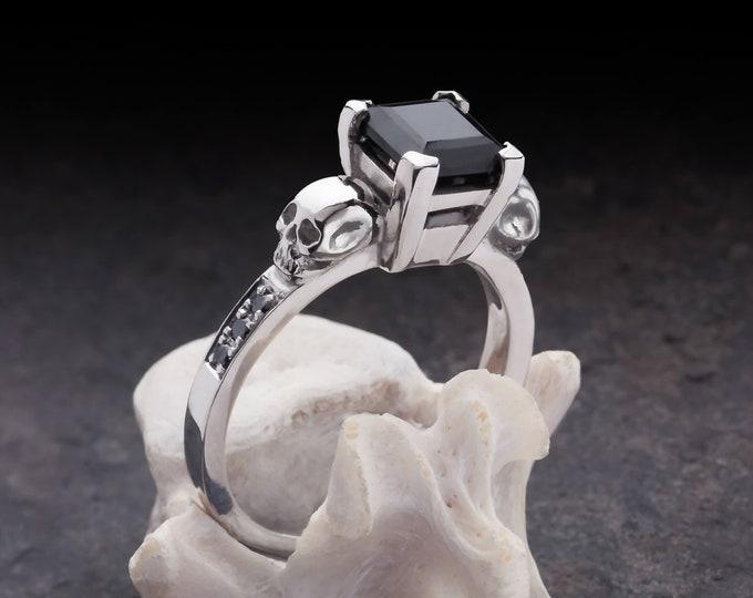 THYONE - Skull and black Diamonds Engagement Ring, Goth, Memento Mori - All Sizes