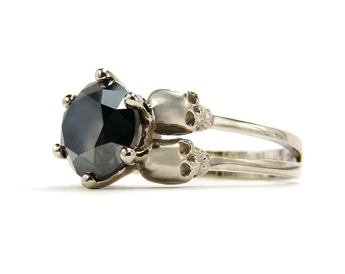 Genuine 3ct Natural Black Diamond Double Skull Engagement Ring in White Gold - All Sizes