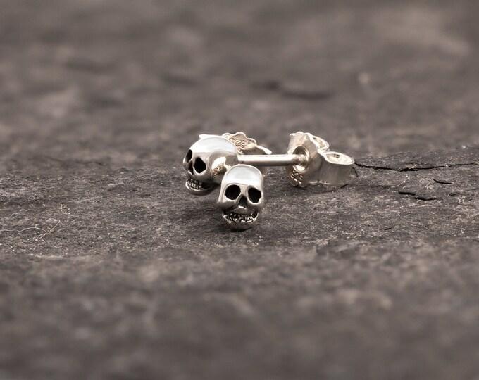 Skull Post Earrings, Small Skull Earstuds in Sterling Silver