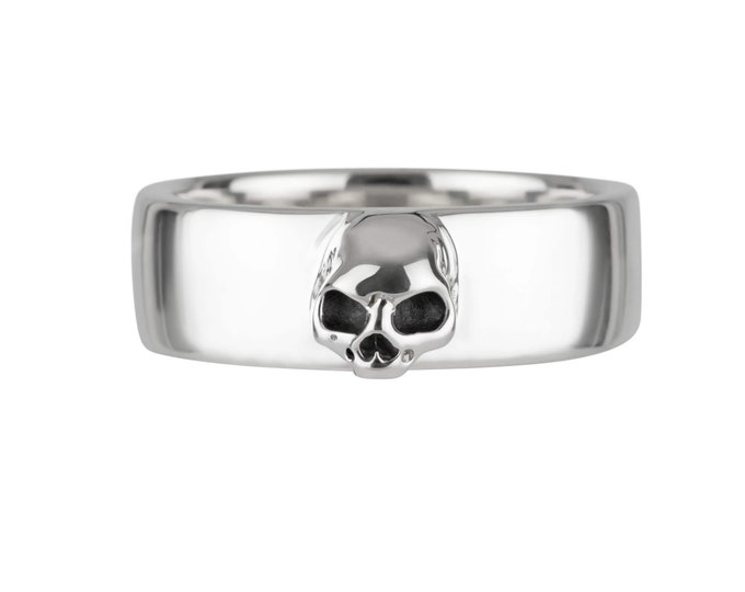 AMUN Size 6.5, UK M1/2, Simple Skull Ring, Alternative, Minimal Goth, Psychobilly,