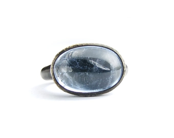 Aquamarine Silver Ring Pale Blue Gemstone Ring Jewel Ring Oxidized Sterling Cocktail Ring Set Gemstone Womens Jewel Ring Your size