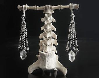 CHAIN EARRINGS - Skull Dangles with Natural Herkimer Diamond Crystal, Gothic Bridal Earrings, Memeto Mori