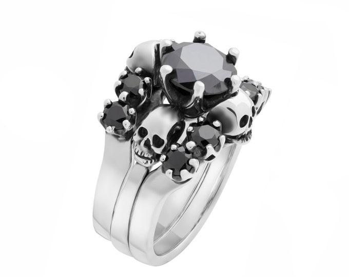 Skull Wedding Ring Set, Black Spinel Stones, Sterling Silver Skull Anniversary, Dark Bridal Bands, Goth, Rock n Roll Ring For Her All Sizes