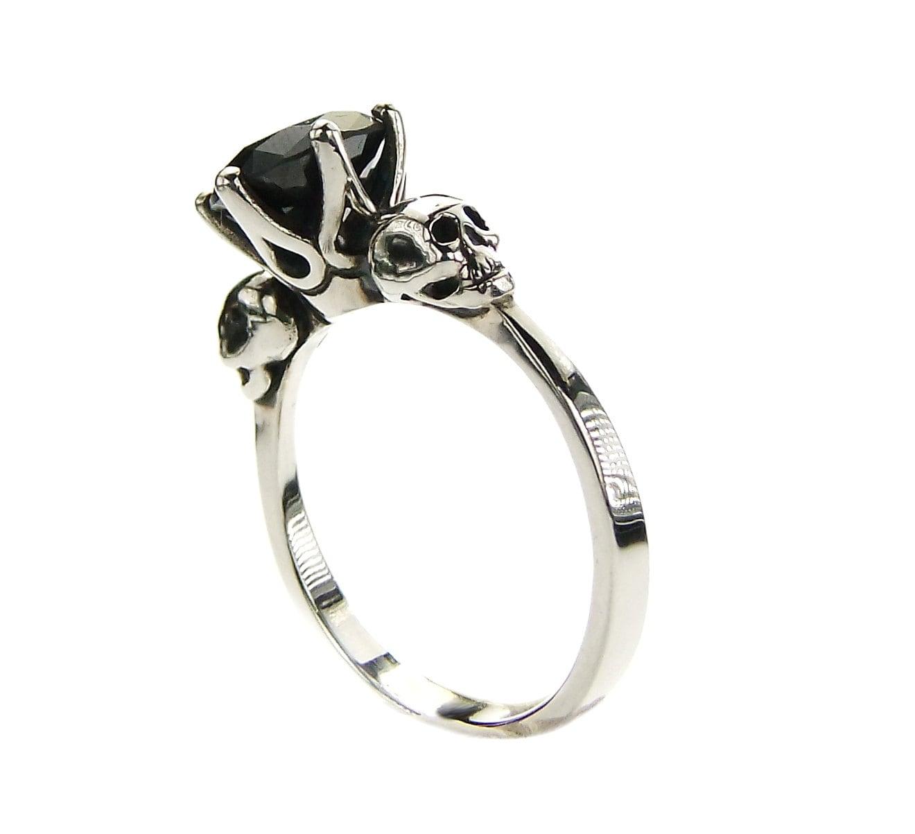 Black Skull Engagement Ring Black Moissanite Black Lab Diamond Ring ... d4dfb3aeb0