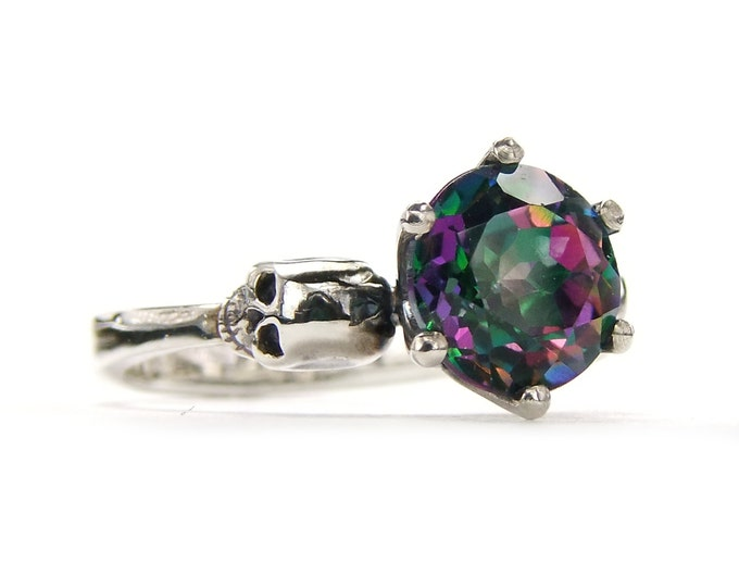 Gothic Skull Engagement Ring with Mystic Topaz Rainbow Gemstone in Sterling Silver - All Sizes
