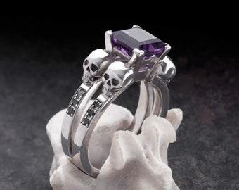 LETHE - Skull Engagement Ring, Black Diamonds, Unique Goth Adornment, Memento Mori, All Sizes