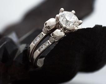 LILITH White Diamond Skull Ring, Morbid Engagement, 14K White Gold, Natural White Diamond, Luxury Goth Wedding, Anniversary, Bridal