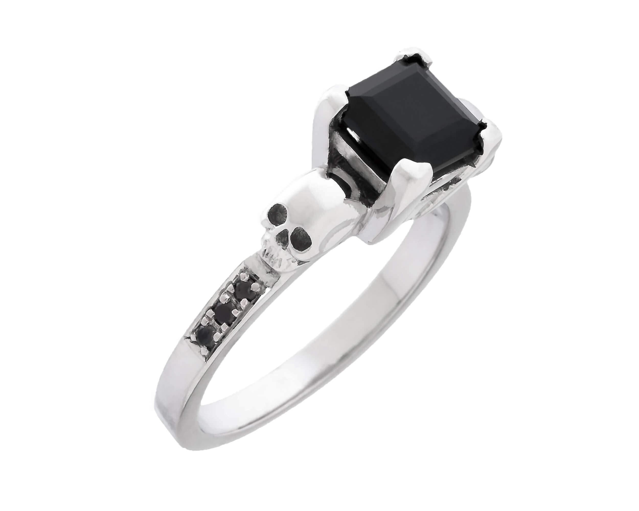 Valentines Skull Ring READY TO SHIP Black Moissanite and Sterling Lab Diamond Ring Memento Mori Gift Size 5.5