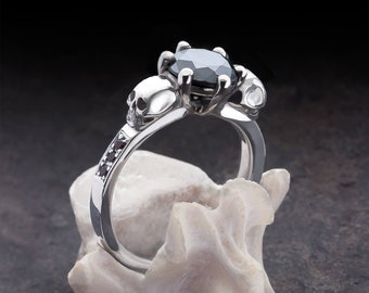 THANA - Skull Engagement Ring with Black Diamonds - All Sizes, Choose Your Gemstone