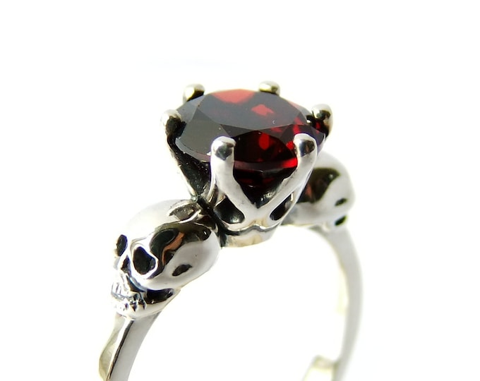 Bloody Valentines Skull Ring with Red Garnet in Sterling Silver for Wedding and EngagementMori Womens Ring Psychobilly All Sizes