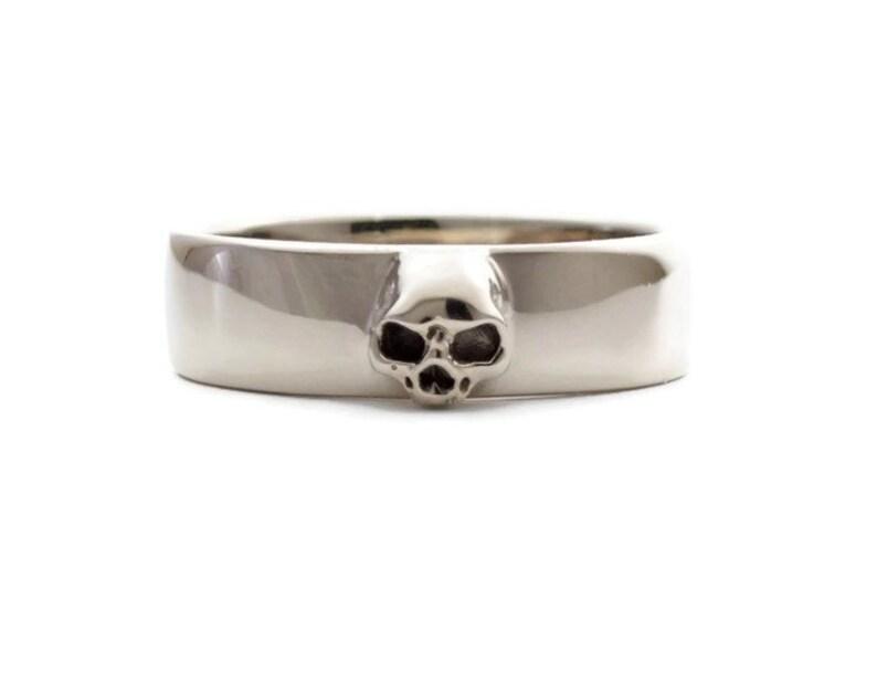 80c21f41c324f Mens Skull Wedding Ring White Gold Grooms Skull Ring Goth Groom Ring Small  Mens Skull Ring Psychobilly Wedding Band Wedding Set All Sizes