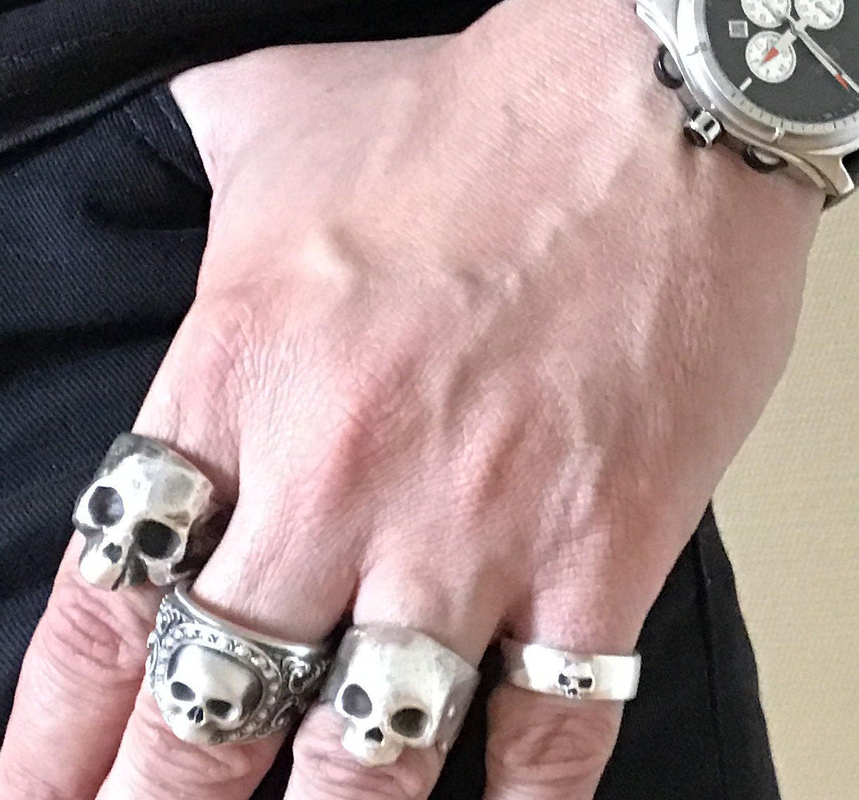Grooms Skull Ring Mens Skull Wedding Band Goth Groom Ring Skull ...