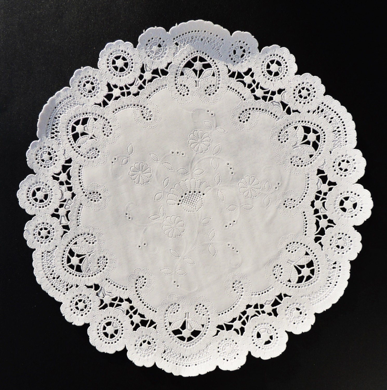50 12 White FRENCH LACE Paper Doilies Chargers   Etsy
