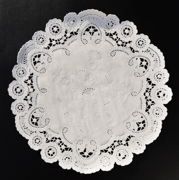 8 White FRENCH LACE Paper Doilies