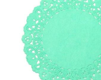 """SPA GREEN Paper Lace  Doilies   4"""" 5"""" 6"""" 8"""" 10"""" 12"""" 14"""" 16"""" Sizes   Green Charger, Green Placements, Green Doily, Mint Doilies"""