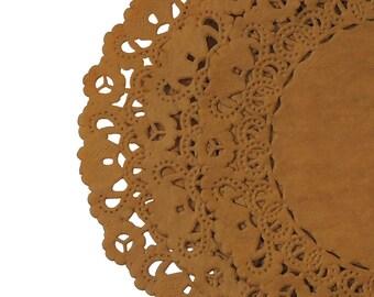 "GOLDEN BROWN Paper Lace Doilies   4"" 5"" 6"" 8"" 10"" Sizes   Light Brown Paper Doily, Brown Paper Charger, Brown Placemat"