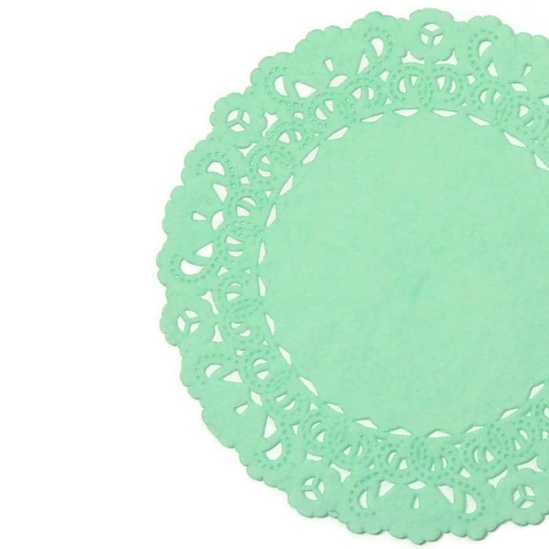 MINT GREEN Paper Lace  Doilies  4 5 6 image 0