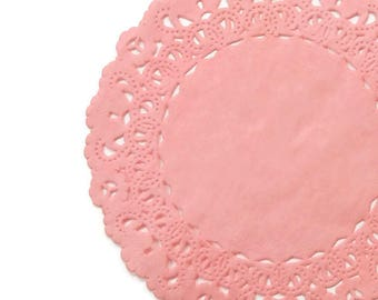"""CORAL PINK PEACH Paper Lace Doilies   4"""" 5"""" 6"""" 8"""" 10"""" 12"""" 14"""" 16"""" Sizes   Pink Peach Doily, Coral Paper Doily, Coral Placemat Charger"""