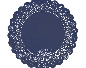 """NAVY BLUE Paper Doilies Normandy 