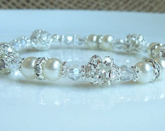 Crystal and Pearl Bridal Bracelet - Wedding Rhinestone Jewelry - White Pearls and Clear Crystals
