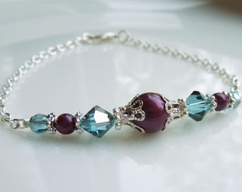 Burgundy and Aqua Bridesmaids Bracelet or Necklace Crystal and Pearl Wedding Jewelry - Feminine Dainty Necklace Earrings Bridal Jewelry Set