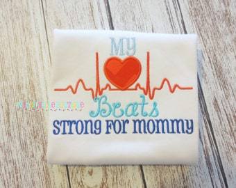 My Heart Beats Strong for Mommy Appliqued Shirt - Embroidered, Valentine's Day, Heart Beats Strong, Mommy's Boy, Mommy's Girl, Valentine