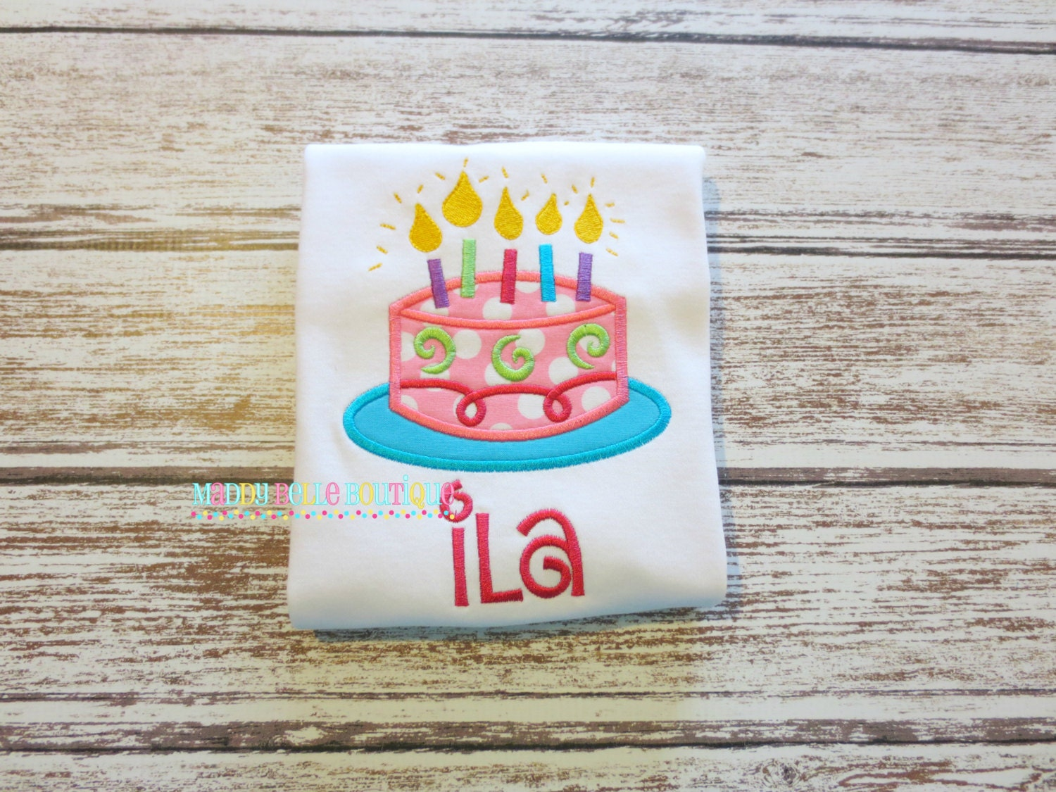 Colorful Birthday Cake With Candles Appliqued Shirt Etsy