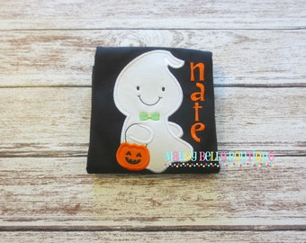 Fun Boys Halloween Ghost with Bow Tie Appliqued Shirt - Embroidered, Personalized, Monogram, Boys Ghost Shirt, Boys Halloween Shirt