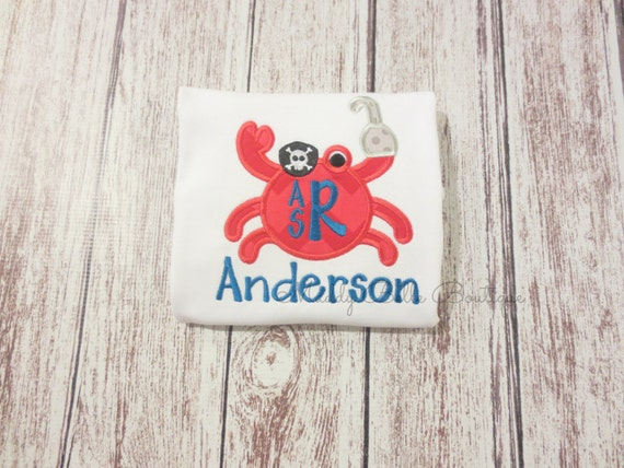fun boys pirate crab monogrammed shirt embroidered