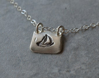 Silver Sailboat Necklace Sterling Silver Nugget Necklace Eco Friendly Reclaimed Silver Necklace Hand Stamped Nautical Boating Sailing Charm
