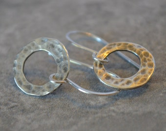 Simple Silver Hoops Hand Forged Reclaimed Sterling Silver Hand Forged French Wires Eco Friendly Small Hoops